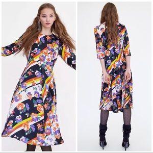 Zara NWT floral striped midi dress